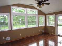 Which do you notice first on this sun room addition - windows or floors? How about the color? Ranch House Exterior, Family Room, Home Remodeling, Sunroom Designs, Arched Cabin, House, Living Room Grey, Home Additions, 4 Season Room
