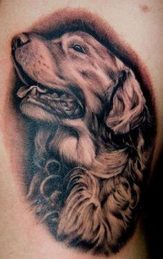 awesome golden retriever tattoo design