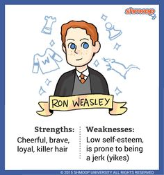 Ronald Weasley - Ron is Harry's first and best friend at Hogwarts (not counting Hagrid). They are BFFs from the get-go. Ron spends much of his time being overshadowed by his friends and family. Ron's closest friends are an international celebrity (Harry) and a brainiac (Hermione), and he feels intimidated by all his older brothers' reputations.