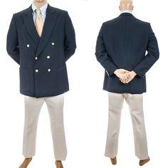 Vtg Nautical Leisure Suit Kingsridge Retro Sport Coat Mens Jacket White Pants #MensSuit #SomeLikeItUsed