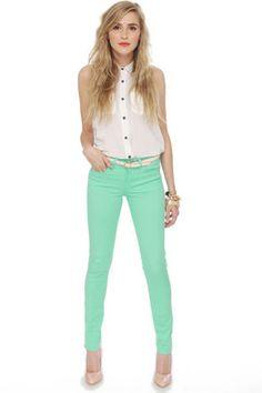 Cute Mint Jeggings - Stretchy Jeggings - Mint Pants - $42.00