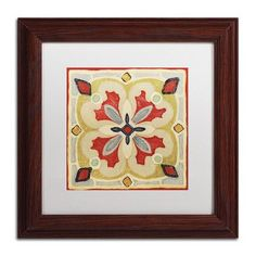 Trademark Art 'Bohemian Rooster Tile Square III' by Daphne Brissonnet Framed Painting Print Size: 1
