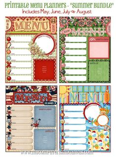 Printable Monthly Menu Planners - SUMMER BUNDLE