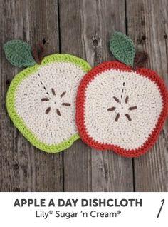 Apple a Day Dishcloth crocheted in Lily Sugar 'n Cream