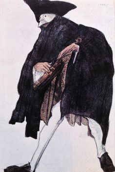 Leon Bakst. Sketch of a musician's costume. Эскиз костюма музыканта.