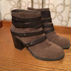 Brown Booties Super cute booties in great condition! Just need to be cleaned up a bit and will look like new! No bad signs of wear Fergie Shoes Ankle Boots & Booties