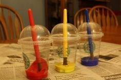 For less mess, place the paint and brushes in Starbucks cups. | 25 Clever Classroom Tips For Elementary School Teachers