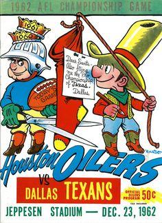 1962 AFL Championship Game Program Houston Oilers v Dallas Texans Rare Ex 31634 School Football, Football Team, Football Helmets, Football Posters, Football Images, Sports Posters, Football Stuff, Kansas City Chiefs Logo, Houston Oilers