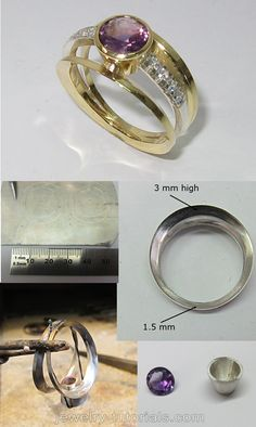 Ring tutorial - Modern ring design with convex side bands. A cone shaped bezel compliments the ring design with centre accent gemstones. #tutorial #makingjewelry silver, metalsmith, workbench, soldering, making a ring,