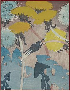 Dandelions by Mabel Allington Royds. Colored Woodblock Print. Before 1941.