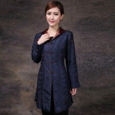 Mandarin Style Elegant Dark Blue Long Jacket,Chinese women jackets,Chinese Dresses Costumes,Chinese Shirts,Chinese blouses,Mandarin collar, Long Sleeve, Frog button, No lining, Slit on both sides, Dry clean recommend