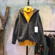 Back Letter Front Zip Angora Hooded Coat Short Gray Coat #coat #fashion #Korean #amazing #winter #Angora