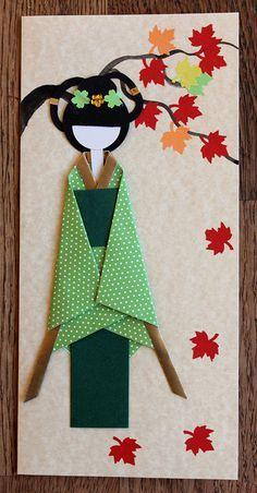 Origami Japanese postcard, Japanese kimono paper, Japanese spring, paper art, oriental art, Japanese Origami Doll, postcard 035 by Orientalgallery on Etsy