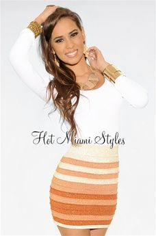 Orange Shimmer Ombre Stripes Bandage Mini Skirt