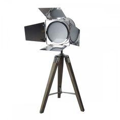 Silver Tripod Lamp 70cm Chrome Wooden Retro Industrial Light