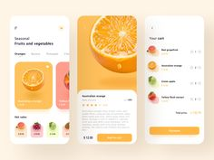Fruits And Vegetables designed by C_Clin. Connect with them on Dribbble; Ui Design Mobile, App Ui Design, Interface Design, Page Design, Design Design, Layout Design, App Design Inspiration, Wireframe, Conception D'interface