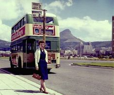 Lady in front of double-decker bus, Foreshore, Cape Town Old Pictures, Old Photos, Vintage Photos, Miss Moss, Cape Town South Africa, Victoria Falls, Time Travel, The Past, History