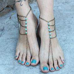 BOHO BAREFOOT-Turquoise beads& bronze chain Barefoot Sandals-gypsy/hippie/vintage beach wedding/ foot jewelry/ slave Anklets/OOAK. $30.00, via Etsy.