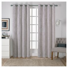 """Antique Shantung Woven Blackout Curtain Panels Silver (52""""x96"""") - Exclusive Home"""