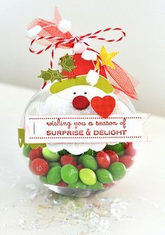Another Adorable Plastic Ornament Idea for kids. Fill with their favorite candy or nuts!