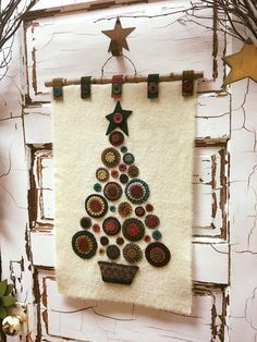 PLEASE NOTE - this is an instant download E-pattern for PENNY CHRISTMAS TREE a Wool Wall Mat and not a finished mat. Also when you are printing your pages please make sure you do not have the shrink to fit page option selected so your pattern is not altered.  WOOL PENNIES !! does anything else really need to be said ?? LOL This is truly a stand-out piece and brings out smiles :) Shown here in a Cream background and a Black background..... The finished mat (without the wire hanger) measures…