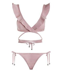 Caravan Stripe Wrap Bikini, from Zimmermann Resort Swim 17 collection, in Pink and Silver stripe. Wrap around bikini with bonded frills.