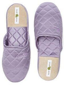 Silk Slippers, Lavender -- Step into these luxurious silk slippers and treat your feet to an instant spa experience everyday. Each simply elegant slipper is covered in quilted mulberry silk charmeuse.