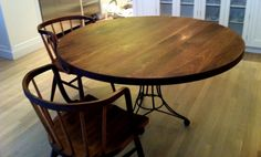 """Round Table, Round Dining Table, Round Coffee Table, Handmade Hardwood Furniture Design, 46"""",  American Walnut Table"""
