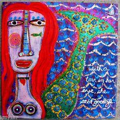"""A Mermaid's Tear"" mixed media on 12x12 birch wood."