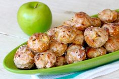 Apple Fritters- Chunks of apples nestled in a chewy dough that's BAKED to perfection and coated in a sweet apple cider glaze! Apple Fritter Recipes, Apple Recipes, Fruit Recipes, Sweet Recipes, Yummy Recipes, Bar Recipes, Donut Recipes, Family Recipes, Diabetic Recipes