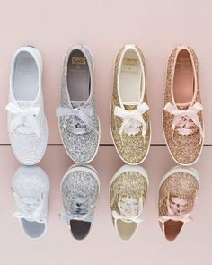 women wedding shoes Keds x kate spade new york Womens Glitter Lace Up Sneakers wedding shoes