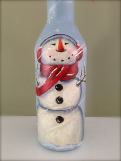 Snowman - Wine Bottle - Hand Painted