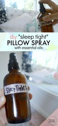 """This DIY """"Sleep Tight"""" natural pillow spray uses calming essential oils and natural ingredients to improve sleep quality & promote feelings of calm, rest, and relaxation. Also includes tips on which essential oils are safe for kids, and which essential oils are best for relaxation and stress relief. 