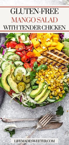 Mango & chicken go together beautifully in this gluten-free mango chicken salad. It's refreshing and filled with healthy ingredients. Side Dish Recipes, Dinner Recipes, Dinner Ideas, Mango Chicken Salads, One Pot Dinners, Mango Salad, Good Healthy Recipes, Popular Recipes, Free Recipes