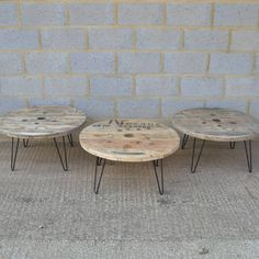 cable reel coffee table with hairpin legs by frances bradley | notonthehighstreet.com