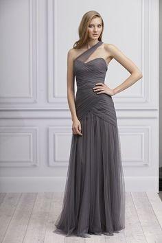 monique lhuillier grey tulle drape one shoulder bridesmaid dress