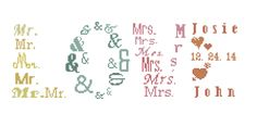 Mr & Mrs Cross Stitch Pattern/Modern Wedding Cross Stitch Pattern/Love Cross Stitch Pattern/Cross Stitch Mr and Mrs Pattern/Wedding Xstitch by oneofakindbabydesign on Etsy