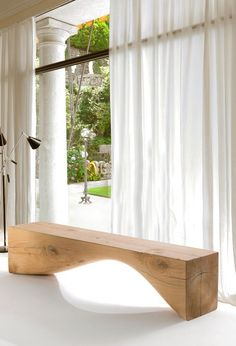 minimalist wooden bench