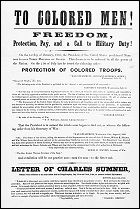 The issues of emancipation and military service were intertwined from the onset of the Civil War. News from Fort Sumter set off a rush by free black men to enlist in U.S. military units. They were turned away, however, because a Federal law dating from 1792 barred Negroes from bearing arms for the U.S. army (although they had served in the American Revolution and in the War of 1812).