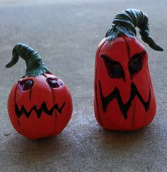 Little Grumpkins set of 2 polymer clay pumpkins by TwoBlueRavens, $20.00