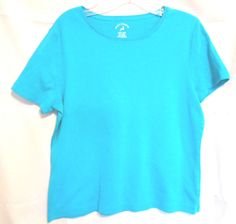 White Stag Career Tee Aqua Size Small 100% Cotton Short Sleeves Scoop Neck #WhiteStag #KnitTop #Career