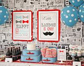 PARTY PRINTABLE Little Man Birthday Party Bow Tie Banner - Petite Party Studio. Now I'm pinning for his first birthday!
