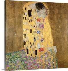 "The Kiss, 1907 08 (oil on canvas). By Gustav Klimt. 48x48"" (120x120cm) $429.99 in canvas. 48x48"" $559.99 with floating frame."