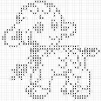 Agnellino con campanella Filet Crochet, Crochet Bobble, Crochet Patterns Filet, Bobble Stitch, Crochet Cross, Crochet Diagram, Crochet Chart, Thread Crochet, Cross Stitch Patterns