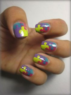 puzzle nails for Autism Awareness