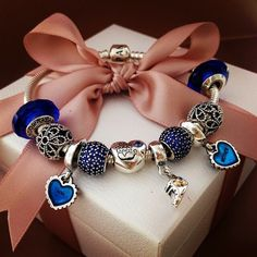 50% OFF!!! $239 Pandora Charm Bracelet Blue. Hot Sale!!! SKU: CB01907 - PANDORA Bracelet Ideas