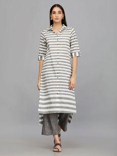 White Grey Stripes Mangalgiri Cotton High Low Kurta