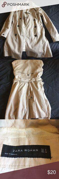 Women's Trenchcoat Beautiful tan trench. Nothing wrong with it. Material is very soft. Perfect for cooler days or when it's raining. Zara Jackets & Coats Trench Coats