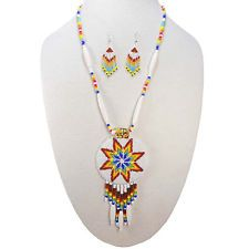 seed bead pattern rose | WHITE SEED BEADS FIRE PATTERN MEDALLION STAR BEADED NECKLACE EARRINGS ...