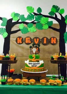 Jungle First Birthday Party Ideas and Outfit Inspiration jungle party decoration ideas dessert table backdrop first birthday safari zoo Safari Party, Safari Theme Birthday, Monkey Birthday, Animal Birthday, Birthday Party Themes, Jungle Safari, Lion Birthday Party, Birthday Backdrop, Diy Birthday